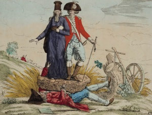 18th century --- A satirical criticism of the crushing burden imposed by the nobility and the clergy on the Tiers Etat (Third Estate), the third of the three orders of society in the Ancien Regime. --- Image by © The Gallery Collection/Corbis